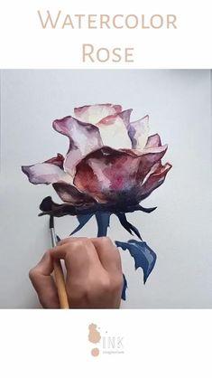 Watercolor Paintings For Beginners, Watercolor Art Lessons, Watercolor Techniques, Watercolor Illustration, Watercolour, Easy Watercolor, Watercolor Flowers Tutorial, Diy Canvas Art, Link
