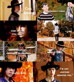 "Knowing About Carl Grimes #TWD ""I'm Just another Monster too."""