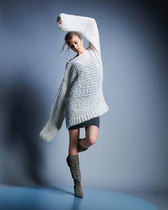 Wollset, um den Oversize-Pullover in créme aus dem Heft burda stricken 2014 zu stricken