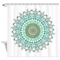 Evergreen Mandala Pattern Shower Curtain On CafePress