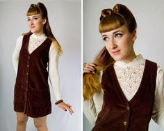 Vintage 1990s EXPRESS Dark Brown Corduroy Jumper w/ Pockets // 90s Cotton Button Up V-Neck Mini Dress | size M L | by Birthday Life Vintage on Etsy | $30.00