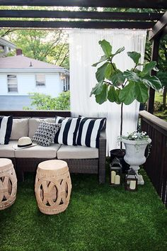 The Artificial Grass is Always Greener on a Deck The Beverly Sectional from Hampton Bay on a beautifully decorated backyard deck with an artificial grass floor Outdoor Rugs, Outdoor Living, Outdoor Decor, Outdoor Patios, Outdoor Spaces, Artificial Grass Balcony, Artificial Turf, Artificial Grass Ideas, Artificial Plants