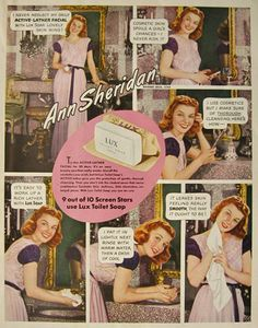 Vintage ads featurning classic celebrities | 1940 Lux Soap Ad ~ Ann Sheridan, Vintage Ads with Celebrities