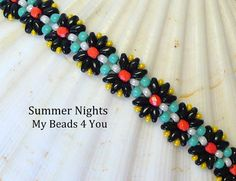 Beading Tutorials and Patterns, Super Duo Bracelet Pattern PDF Beading Instructions, Seed Bead Tutorial Jewelry Making Summer Nights Pattern Seed Bead Bracelets, Seed Bead Jewelry, Seed Beads, Beading Jewelry, Beaded Bracelet Patterns, Beading Patterns, Crochet Patterns, Super Duo Beads, Handmade Beaded Jewelry