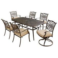 Hanover Outdoor Furniture Traditions 7-Piece Aluminum Dining Patio Dining Set