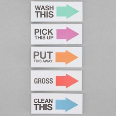 """Five mini pads of sticky notes: """"Wash This"""", """"Pick This Up"""", """"Put This Away"""", """"Gross"""" and """"Clean This"""".  Overview:  * Paper, adhesive  * Imported  * Includes: 1 pack - each contains 5 different stickies with 20 of each  * Sheets: 2.75""""w, 6.5""""h; stickies: 2""""w, .75""""h"""