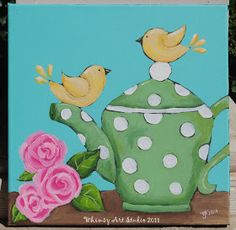 I am now doing more painting for Afternoon Tea - which is a tea room in Sanford. This one I took in to fill her walls with color and a tea ...