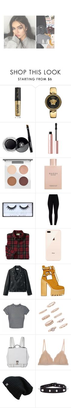 """""""my dearest darling x etta james"""" by wildxthoughts ❤ liked on Polyvore featuring Too Faced Cosmetics, Versace, Chanel, MAC Cosmetics, Gucci, Huda Beauty, Jeffrey Campbell, Forever 21, Proenza Schouler and Cosabella"""