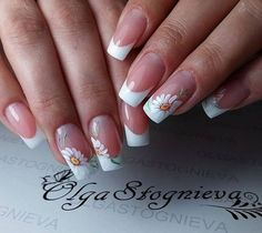 195 Likes 3 Comments nail artist свою работу (Olga Stognieva French Manicure Nails, French Nails, Summer Acrylic Nails, Spring Nails, Love Nails, Pretty Nails, Sunflower Nails, Fall Nail Art Designs, Rhinestone Nails