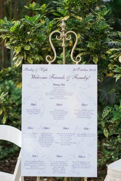 Elegant seating chart in lieu of escort cards | Jillian Joseph Photography