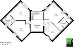 Maison - Scenio - Les Maisons Barbey Maillard - 258000 euros - 159 m2 | Faire construire sa maison Line Chart, Floor Plans, How To Plan, Benedict Cumberbatch, Deco, Farm House, Mediterranean Houses, Beach Houses, Deko