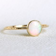 Solid 14k Gold Natural Fiery AAA Opal Orbital Ring - Simple Beautiful 14K Gold Stack Ring - Engagement Ring