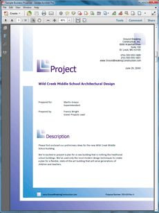 Architectural Design Sample Proposal - The Architectural Design Sample Proposal is an example of a proposal using Proposal Pack to pitch ideas for a new school building. Create your own custom proposal using the full version of this completed sample as a guide with any Proposal Pack. Hundreds of visual designs to pick from or brand with your own logo and colors. Available only from ProposalKit.com (come over, see this sample and Like our Facebook page to get a 20% discount)