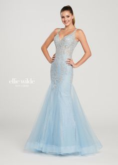 Ellie Wilde - This mesmerizing sleeveless sparkle tulle mermaid gown with beaded lace appliqués offers a deep V-neckline, a sheer illusion boned bodice, a dropped waist, a V-back and a horsehair hem. Mermaid Gown Prom, Lace Mermaid, Formal Dresses For Weddings, Wedding Dresses, Sweet 16 Outfits, Sequin Prom Dresses, Perfect Prom Dress, Horse Hair, Designer Gowns