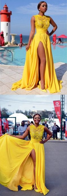 4b9b33afd5d764 Prom dresses Formal Dress 2018 Yellow Chiffon Prom Dresses Thigh-High Slit  Sexy Summer Evening