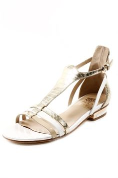 Gold and white leather sandals, made in Italy