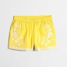J.Crew Factory Embroidered cotton Gauze Short ($25) ❤ liked on Polyvore featuring shorts, elastic waistband shorts, j.crew, cotton elastic waist shorts, embroidered shorts and cotton shorts