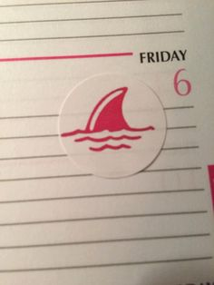This listing is for twelve 1 round white stickers with a pink shark fin image. Keep track of your shark week in your planner in a fun, cute way!