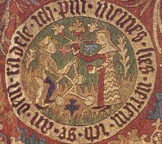 """Tapisserie """"The lovers"""", Ratisbonne - Bavière - Allemagne.  Selon les sources trouvées, taperaient tantôt entre 1370-1380 tantôt dans du 1390."""