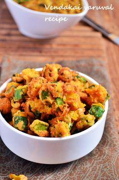 Vendakai varuval recipe: Crispy okra stir fry recipe with gram flour,rice flour and few spices. Easyto make vegan crispy okra fry recipe without curd. Vegetarian Snacks, Diet Snacks, Healthy Snacks, Healthy Recipes, Snack Recipes, Vegan Foods, Recipes With Gram Flour, Okra Fries, Best Vegetable Recipes