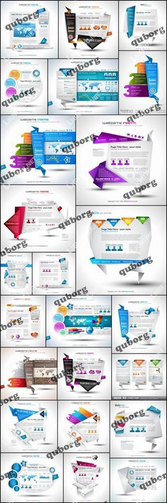 Stock Vector - Origami Website Templates