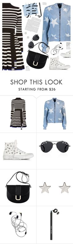 """twinkle, twinkle: star outfits"" by jesuisunlapin ❤ liked on Polyvore featuring Karen Millen, STELLA McCARTNEY, Converse, Givenchy, A.P.C., Jennifer Meyer Jewelry, Bobbi Brown Cosmetics, stripes, denimjacket and sneakers"