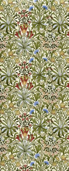 WILLIAM MORRIS DESIGN The colours in the design are mostly the pale green of the leaves or the creamy-white of the background. The blue and red of the flowers helps them to stand out and it draws your eye to them. The design has a symmetrical pattern and it also repeats the same shapes (inverted hearts). The shapes have a cured, free-flowing edge with sharp corners. This gives the design quite a natural feel along with the colours and objects.
