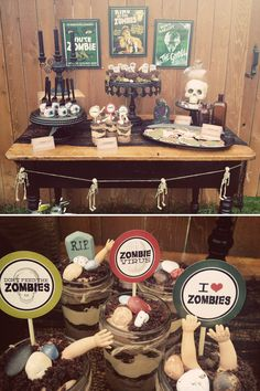 Vintage Zombie Party -- includes free party printables, zombie eye cake pops