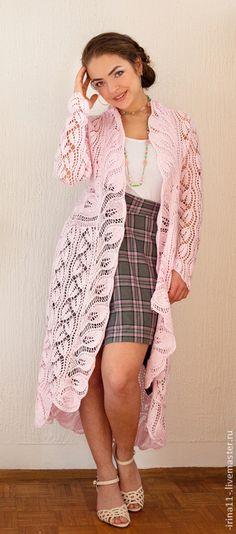 Летнее ажурное пальто вязанное спицами Нежность - _Irina_ - Ярмарка Мастеров http://www.livemaster.ru/item/9640317-odezhda-letnee-azhurnoe-palto-vyazannoe