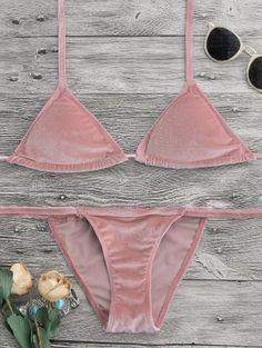 Halter Velvet Thong Bikini Set - Pink S