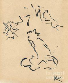 Cat Watching. 1999 Painting  - Cat Watching. 1999 Fine Art Print