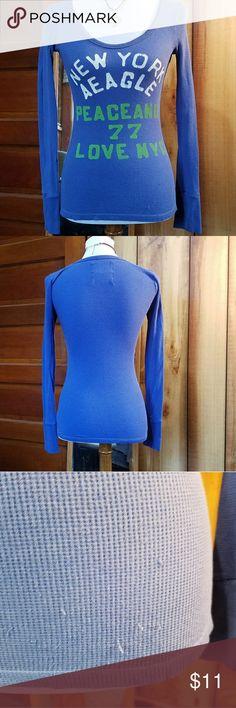 AEO Thermal Long Sleeve Top. Sz M AEO Thermal Long Sleeve Top.  Sz M Blue  Few snags on Front bottom AEO Tops