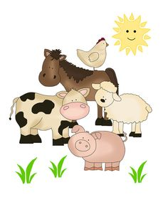 FARM ANIMAL DECALS Stickers Mural Wall Art for baby barnyard nursery or children's room decor. Includes a horse, cow, pig, sheep, and chicken #decampstudios