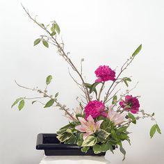 Fleurs de #lys et de #camléias pour cette belle composition rosée. Image partagée par www.beaute-sante-en-tase.fr