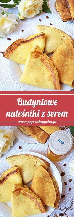 Obiad w 20 minut? Budyniowe naleśniki z serem białym i rodzynkami sułtankami! Są naprawdę proste, a do tego pięknie pachną budyniem. Warto wypróbować 🙂 #poprostupycha #przepis #naleśniki #obiad #ser #mniam Polish Recipes, Crepes, Camembert Cheese, Food And Drink, Menu, Cooking Recipes, Lunch, Dinner, Breakfast
