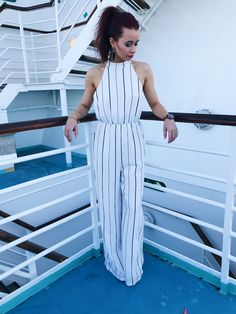 Stripe Jumpsuit Travel Style Vacation Outfits What to Wear on a Cruise Summer Style Summer Trends Summer Cruise Outfits, Cruise Attire, Cruise Wear, Vacation Outfits, Summer Dresses For Women, Vacation Wear, Cruise Vacation, Bahamas Vacation, Vacation Wardrobe