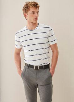 Camiseta de rayas en algodón