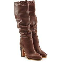 See by Chloé Leather Boots ($355) ❤ liked on Polyvore featuring shoes, boots, heels, brown, sapatos, black, heeled boots, brown knee boots, black leather knee high boots and knee boots