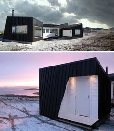 Simple, modern & open in all directions, this one-story coastal cabin overlooking the beautiful Norwegian coastline is designed by the aptly named Fantastic Norway architecture firm. Residential Architecture, Amazing Architecture, Architecture Design, Norway Design, Green House Design, Ocean House, Tiny House Cabin, Beautiful Buildings, Prefab