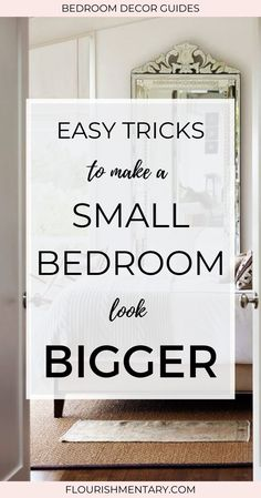 Easy Tricks To Make A Small Bedroom Look Bigger - These small bedroom tricks will make any bedroom feel larger and more open. Click now to learn these simple hacks for small spaces that will totally transform a room! Bedroom Layouts For Small Rooms, Master Bedroom Layout, Bedroom Decor Dark, Traditional Bedroom Decor, Small Master Bedroom, Apartment Bedroom Decor, Small Bedroom Designs, Budget Bedroom, Modern Traditional