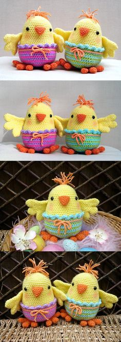 Chelsea and Charlie Chick amigurumi pattern by Janine Holmes at Moji-Moji Design