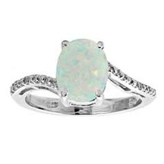 Oval Lab-Created Opal and Diamond Accent Ring in Sterling Silver - View All Jewelry - Gordon's Jewelers