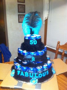 50th Birthday cake I made. 50 cans of beer for my fabulous sister-in-law.