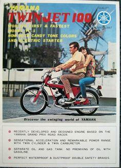Vintage Dealer Sales Brochure for Yamaha YL 1 Twin Jet 100 Motorcycles Yamaha Motorcycles, Vintage Motorcycles, Cafe Racer Honda, Motorcycle Posters, Japanese Motorcycle, Vintage Cycles, Car Design Sketch, Classic Motors, Mini Bike