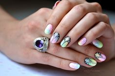 Nail-Art: degraded translucent varnish (color POP club wash)+ pattern Design by 'Tartofraises' ♥•♥•♥GORGEOUS♥•♥•♥