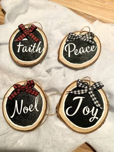 Holiday Phrase Wood Cookie Christmas Ornament Set