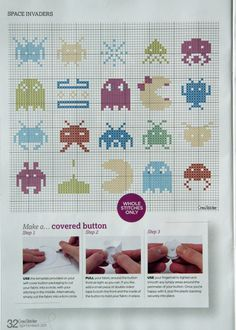 'Space Invaders' from Cross Sticher No 243 September 2011, page 32