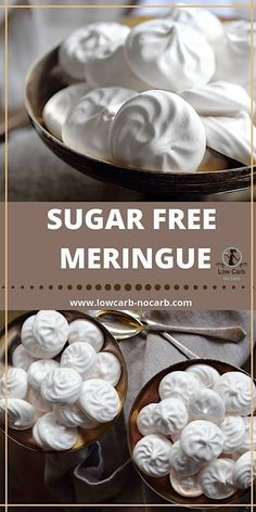 Sugar Free Meringue Cookies, that are identical to a normal one Easy to make from 2 ingredients only those homemade Sugarfree Keto Meringue Cookies Recipe is a must for Festivity table, either for Christmas, Thanksgiving, Valentines or Easter Sugar Free Meringue Cookies Recipe, Sugar Free Desserts, Sugar Free Recipes, Keto Cookies, Low Carb Desserts, Cookies Et Biscuits, Chip Cookies, Diabetic Snacks, Diabetic Recipes