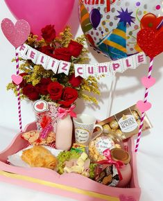 Birthday Parties, Happy Birthday, Hamper, Gift Baskets, Diy Gifts, Flower Arrangements, Diy And Crafts, Balloons, Projects To Try
