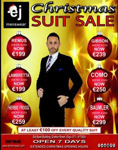 Our Christmas Suit Sale is Now On. At least €100 of every single Quality Suit in stock